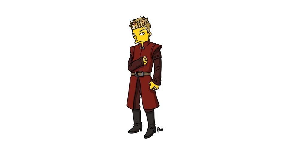 Na imagem, o artista Adrien Noterdaem deixou o personagem Joffrey Baratheon com o estilo 'Simpsons' de ser. Os personagens da serie 'Game of Thrones' ficaram tão populares que ganharam diversas versões na internet