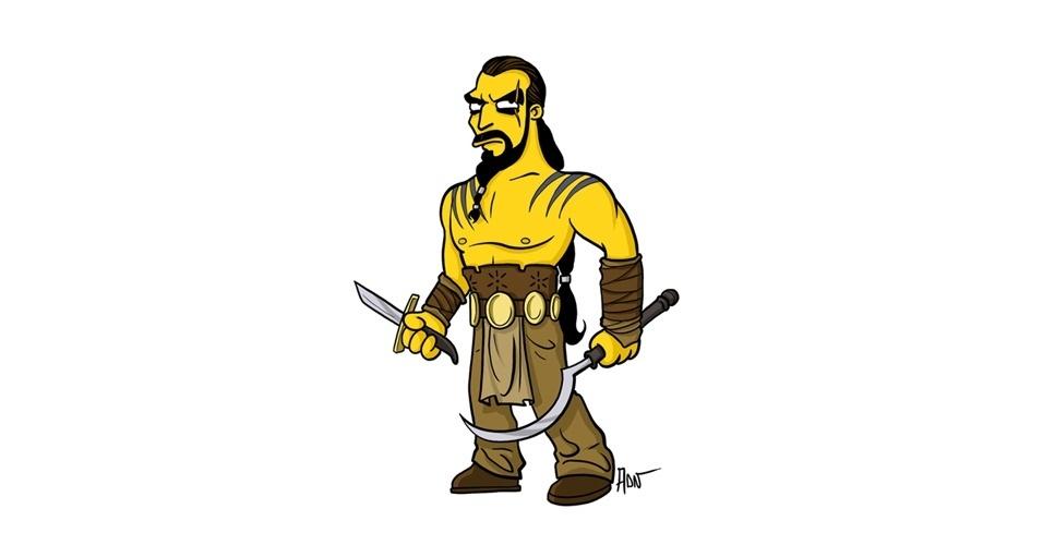 Na imagem, o artista Adrien Noterdaem deixou o personagem Khal Drogo com o estilo 'Simpsons' de ser. Os personagens da serie 'Game of Thrones' ficaram tão populares que ganharam diversas versões na internet