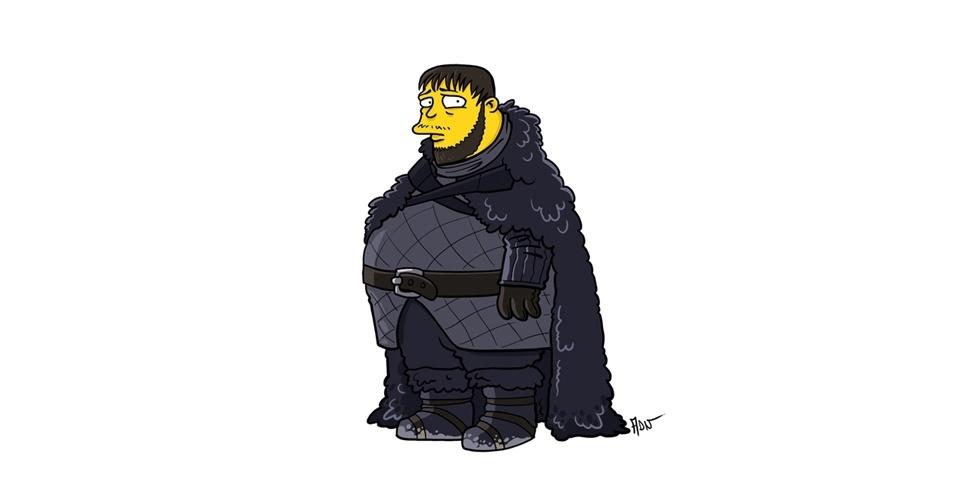 Na imagem, o artista Adrien Noterdaem deixou o personagem Samwell Tarly com o estilo 'Simpsons' de ser. Os personagens da serie 'Game of Thrones' ficaram tão populares que ganharam diversas versões na internet