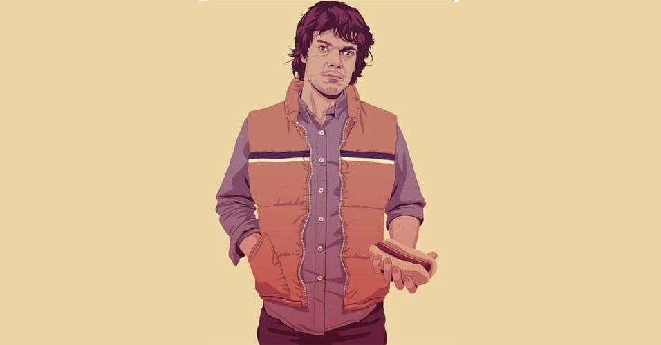 Na imagem, o personagem Theon Greyjoy. Nas mãos do artista Mike Wrobel, os personagens de 'Game of Thrones' ganharam o jeitão dos anos 1980 e 1990