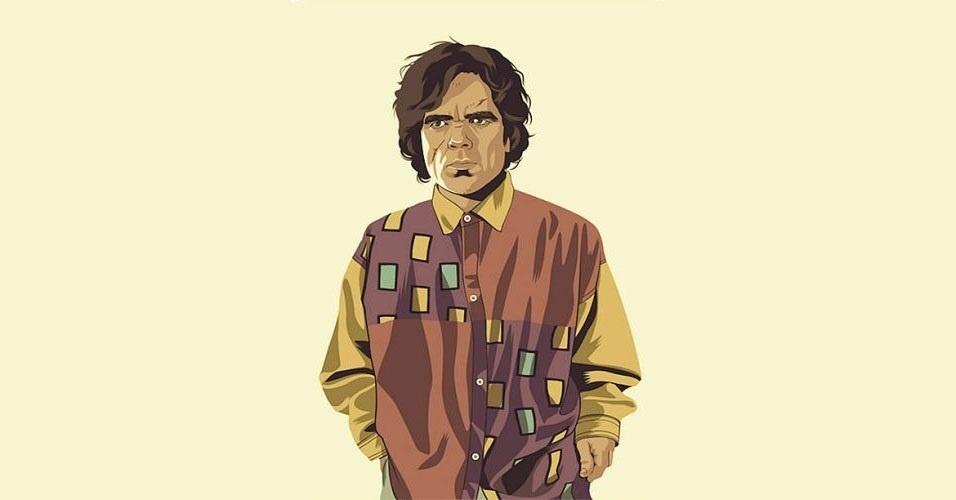 Na imagem, o personagem Tyrion Lannister. Nas mãos do artista Mike Wrobel, os personagens de 'Game of Thrones' ganharam o jeitão dos anos 1980 e 1990