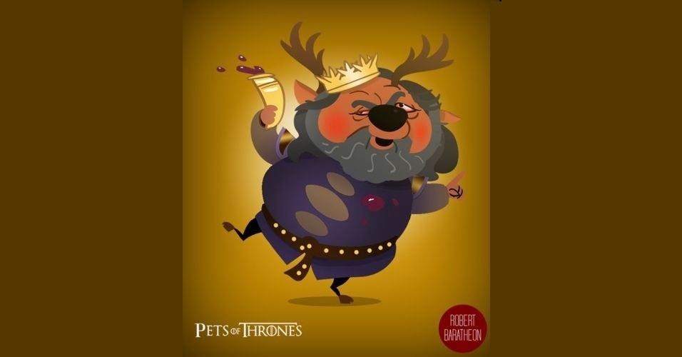 Na imagem, Robert Baratheon virou um veado. O designer Mario Flores combinou os personagens da série 'Game of Thrones' com o animal que representa cada família