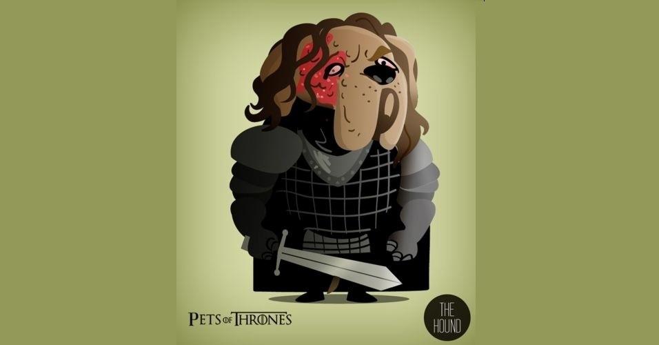 Na imagem, Sandor Clegane virou um cachorro. O designer Mario Flores combinou os personagens da série 'Game of Thrones' com o animal que representa cada família