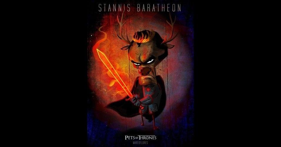 Na imagem, Stannins Baratheon virou um veado. O designer Mario Flores combinou os personagens da série 'Game of Thrones' com o animal que representa cada família
