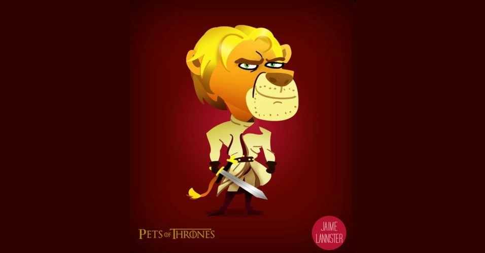 Na imagem,Jaime Lannister virou um leão. O designer Mario Flores combinou os personagens da série 'Game of Thrones' com o animal que representa cada família