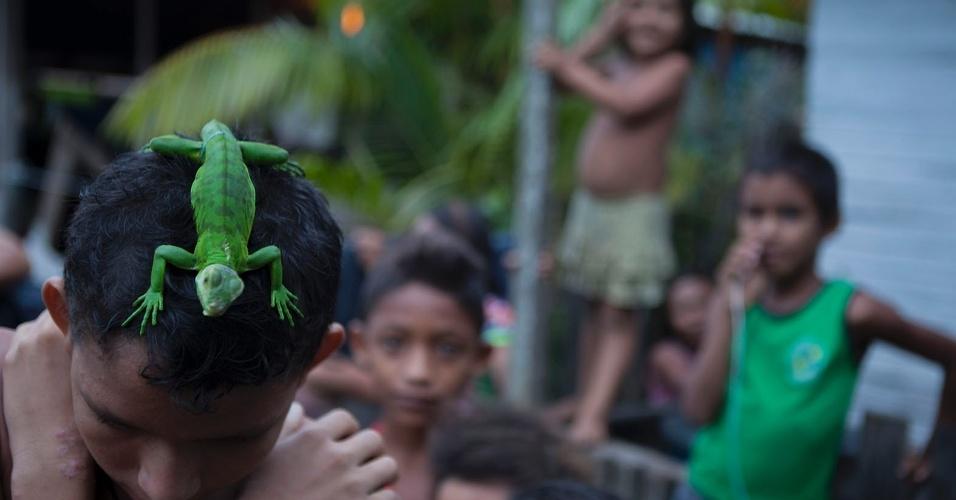 11.ago.2013 - Menino brinca com réptil sobre a cabeça na cidade de Melgaço (a cerca de 300 km de Belém).