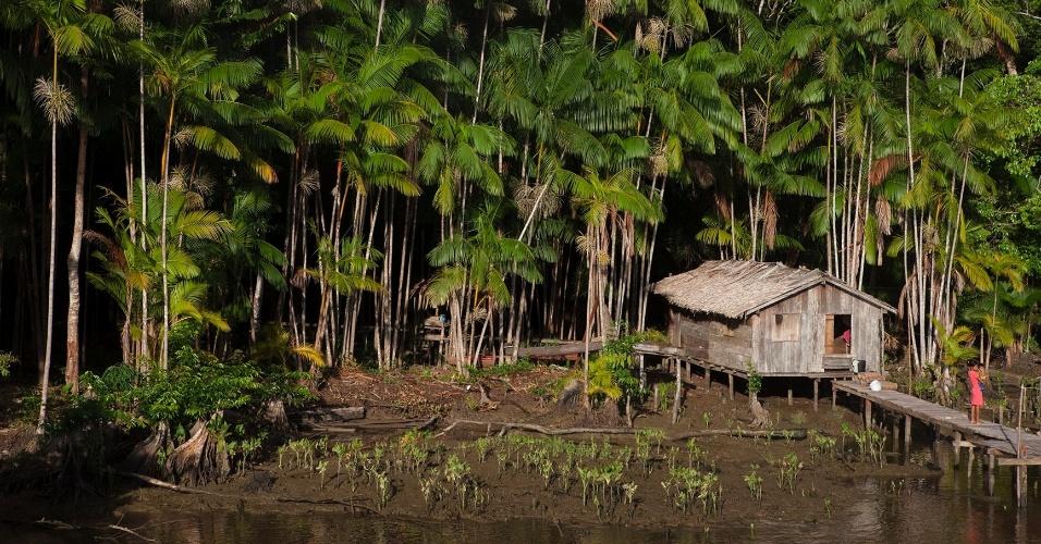 11.ago.2013 - Palafita ribeirinha no municipio vizinho de Breves (PA) também presente na lista dos municipios paraenses com os menor IDH do Brasil