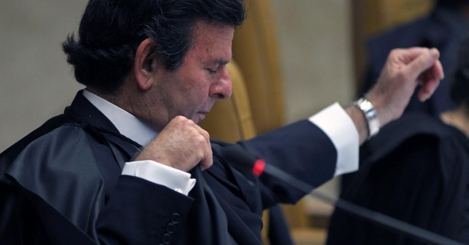 14.ago.2013 - O ministro do STF (Supremo Tribunal Federal) Luiz Fux discursa durante o primeiro dia da retomada do julgamento do mensalão. O Supremo começou, às 14h25 desta quarta-feira (14), a analisar os recursos dos réus condenados no julgamento do mensalão. A segunda fase do julgamento é retomada mais de um ano depois do início do julgamento, em 2 de agosto do ano passado