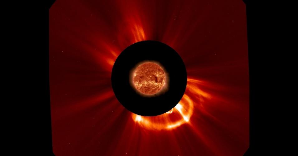 21.ago.2013 - O Sol liberou massa coronal (CME, na sigla em inglês) em direção à Terra nesta terça-feira (20), por volta das 5h30 (fuso de Brasília), segundo a Nasa (Agência Espacial Norte-Americana). O fenômeno solar, que solta no espaço bilhões de partículas ionizadas em forma de gás e plasma magnetizado de sua atmosfera, atingiu uma velocidade de 917 km/s e pode levar entre um e três dias para atingir o nosso planeta. As partículas do CME causam distúrbios no campo magnético da Terra, afetando sistemas eletrônicos e meios de comunicações, mas não prejudicam a saúde dos seres humanos, já que não conseguem atravessar a nossa atmosfera. Elas também são responsáveis por formar as auroras que colorem os céus da região dos polos do globo