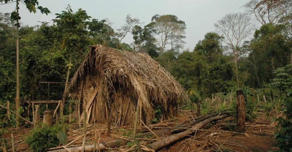 """23.ago.2013 - Muitos índios se isolam após conflitos gerados, principalmente, pelo controle e pela exploração da terra, chegando a serem vítimas de genocídio. Foi o que aconteceu com o """"homem do buraco"""", como a ONG Survival batizou o último membro de uma tribo na região de Tanaru, em Rondônia. Como vive sozinho, ele criou novas técnicas de caça, como cavar buracos para pegar presas, além de plantar mandioca e alguns vegetais no """"jardim"""" atrás de sua cabana"""