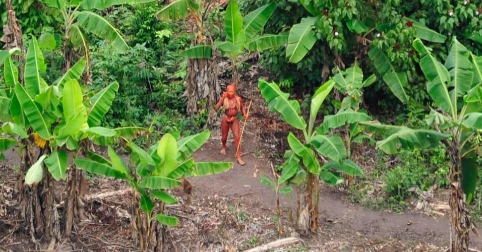 23.ago.2013 - Pintado com tinta de sementes de urucum, homem anda na roça comunitária da tribo, cercada por bananeiras, que vive na Amazônia brasileira, perto da fronteira com o Peru