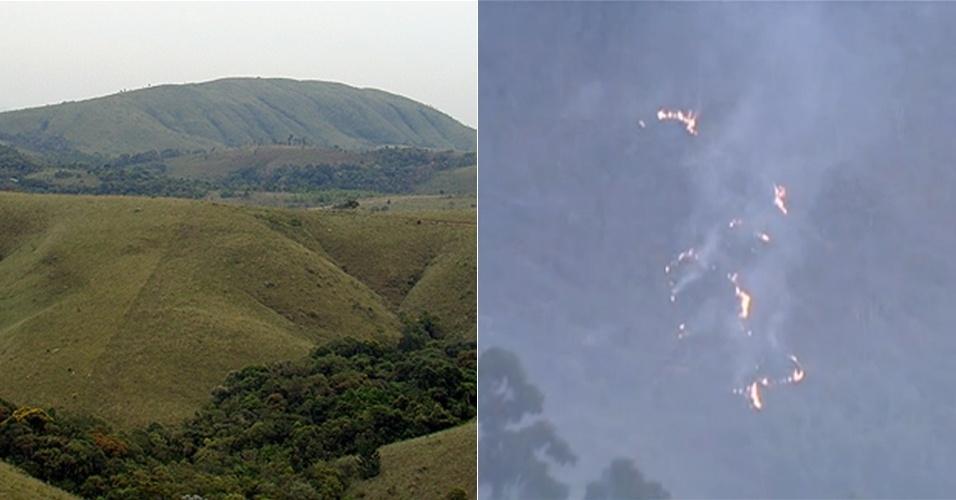 2.set.2013 - Um incêndio já destruiu cerca de 40% da mata nativa do Parque Estadual do Juquery, em Franco da Rocha, na região metropolitana de São Paulo. O fogo começou no domingo (1º), mas novos focos surgiram na manhã desta terça-feira (2). O parque de 2.058,09 hectares tem vegetação nativa da Mata Atlântica e abriga o último remanescente de Cerrado preservado na Grande SP