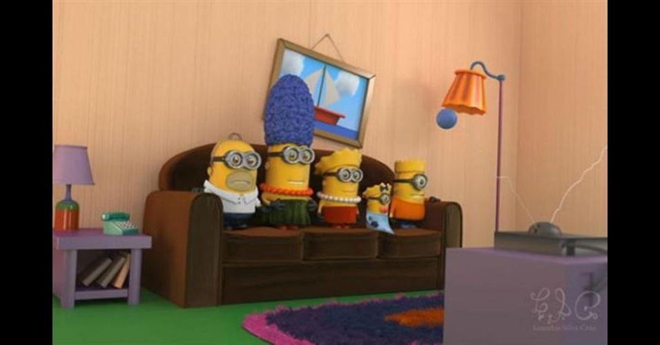 Os Minions, da franquia de filmes 'Meu Malvado Favorito', ganhou dezenas de versões diferentes nas mãos dos usuários. Na imagem, o Minion 'imitando' o desenho 'Os Simpsons'