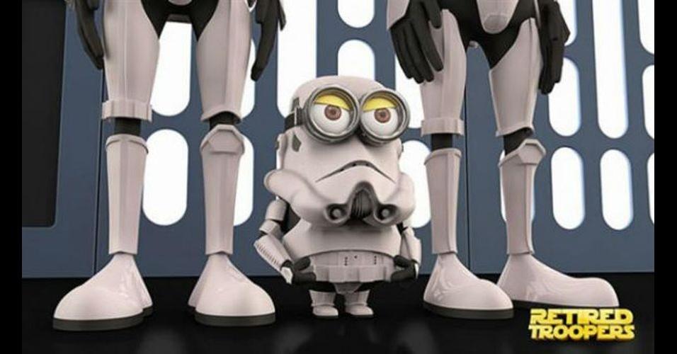 Os Minions, da franquia de filmes 'Meu Malvado Favorito', ganhou dezenas de versões diferentes nas mãos dos usuários. Na imagem, o Minion 'imitando' o personagem Stormtrooper, dos filmes 'Star Wars'