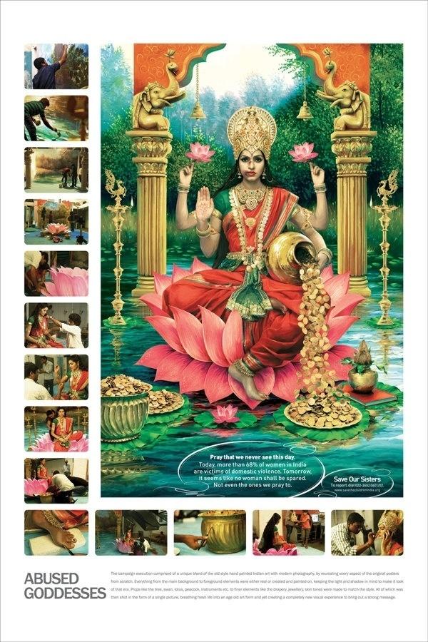 9.set.2013 - A campanha pede não só punição aos acusados de ataques e estupros, mas respeito às mulheres, símbolo de representação religiosa na Índia