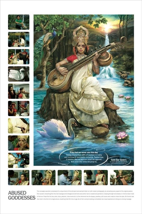 9.set.2013 - Os cartazes, que estão sendo disponibilizados em locais públicos da Índia, mostram todo o trabalho de caracterização das modelos em deusas hindus. Há, ainda, a mensagem de que, por dia, 68% das mulheres são vítimas de violência no país