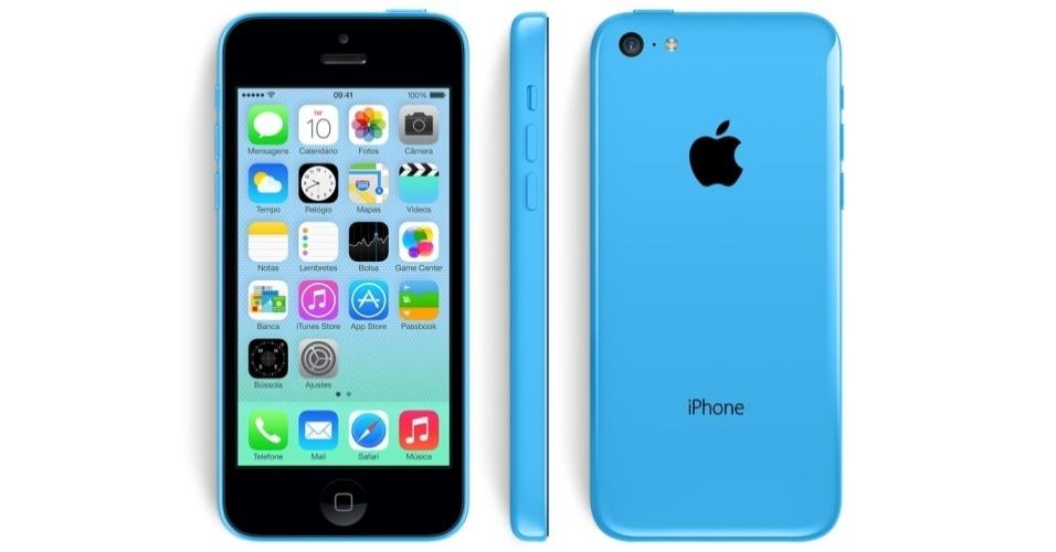 Acima, o iPhone 5C Azul. As outras opções de cores são vermelha, amarela, verde e branca