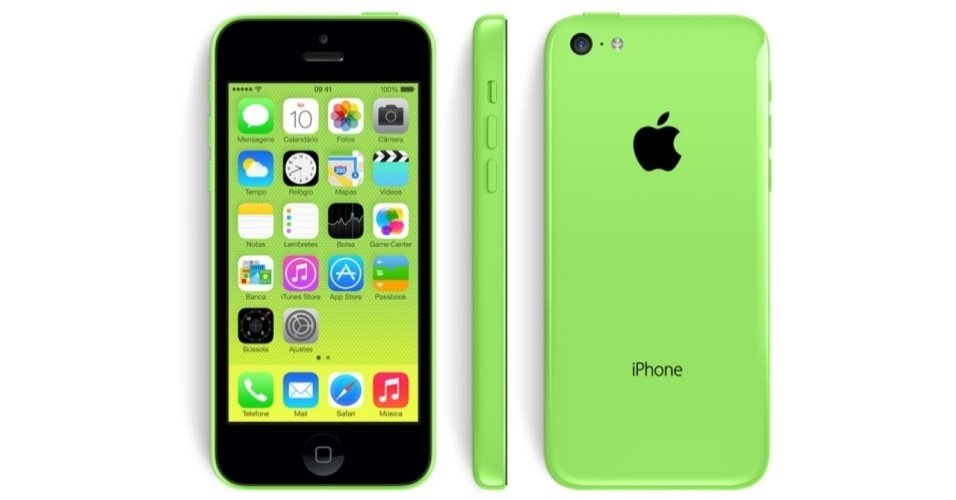 Acima, o iPhone 5C na cor verde. Além dele, há opções nas cores azul, amarela, branca e vermelha