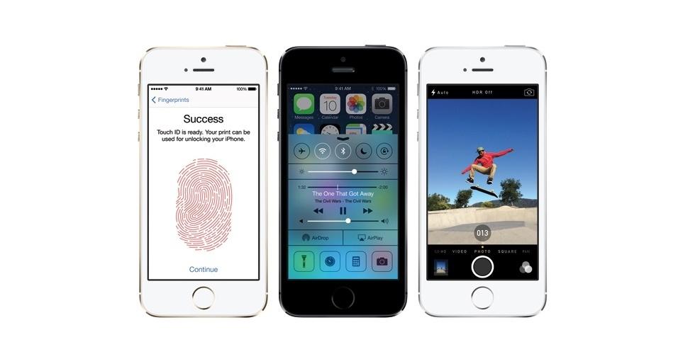 Confirmando rumores, o iPhone 5S da Apple traz um leitor de impressão digital. Localizado no botão home do telefone, o Touch ID, como é chamado, permitirá que o usuário desbloqueie o dispositivo para uso apenas colocando o dedo sobre ele