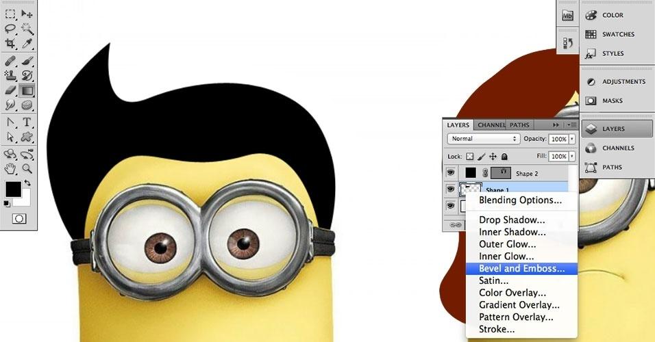 Clique em Effects (Efeitos), cujo ícone é ?fx?. Selecione Bevel and Emboss (Chanfro e Entalhe)