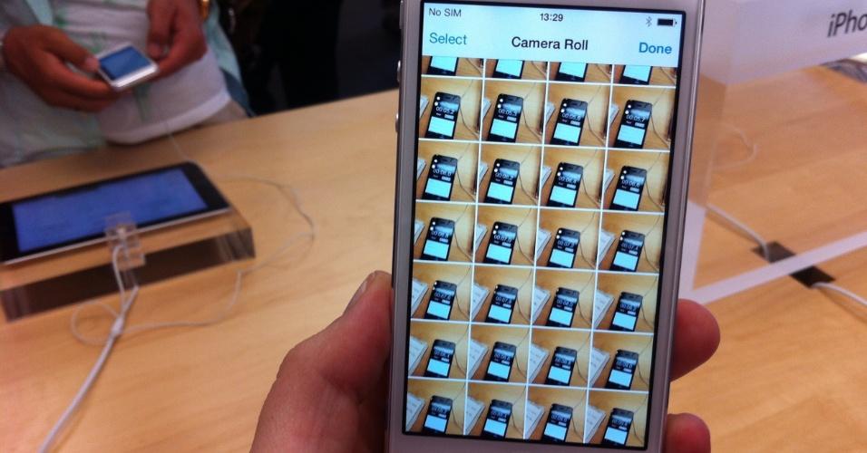 20.set.2013 - O iPhone 5s (foto) se mostrou bastante rápido entre um clique e outro: em dez segundos, dá para registrar mais de 50 fotos (53 em um teste, 51 em outro), clicando incessantemente sobre o botão Home. Com o iPhone 5c, a quantidade de cliques foi menor: 45 e 47 fotos no mesmo período de tempo. O 5c não chega a engasgar, mas às vezes há um