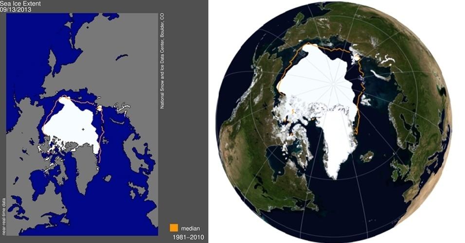 20.set.2013- Menor extensão do gelo do ártico no ano foi em 13 de setembro de 2013, com 5,1 milhões de quilômetros quadrados, o sexto menor tamanho já registrado. A linha laranja mostra a média do tamanho da camada de gelo entre 1981 e 2010. À direita, imagem de 16 de setembro mostra a extensão mínima sob outro ângulo