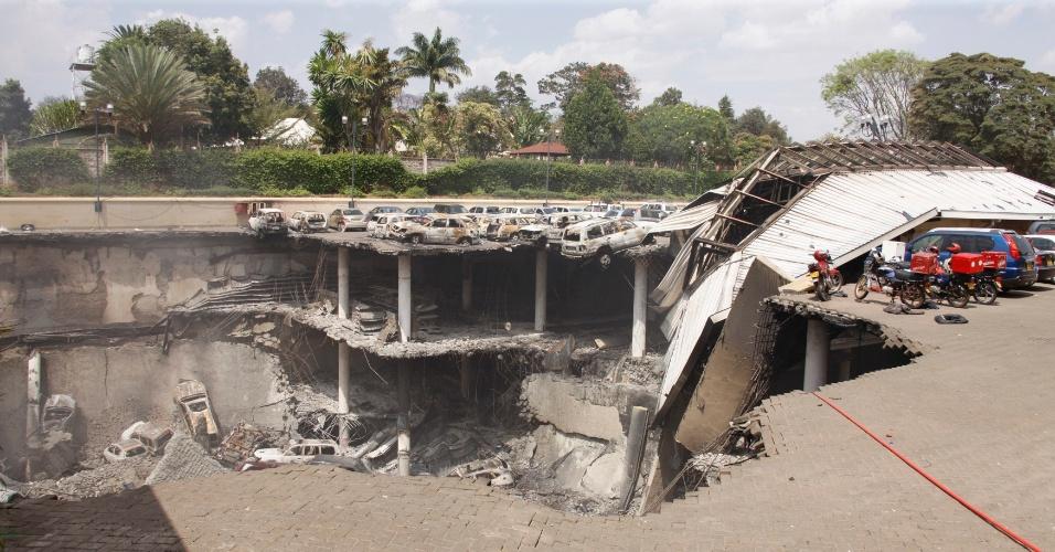 26.set.2013 - Foto mostra a destruição no Centro Comercial Westgate em Nairóbi, no Quênia, após uma série de explosões durante um impasse entre as forças de segurança quenianas e terroristas do grupo islâmico Al-Shabab no interior do edifício