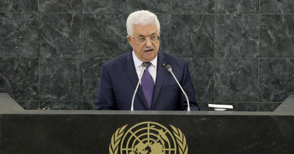 26.set.2013 - O presidente da Autoridade Nacional Palestina, Mahmoud Abbas, discursa durante a 68ª Assembleia Geral da ONU, em Nova York