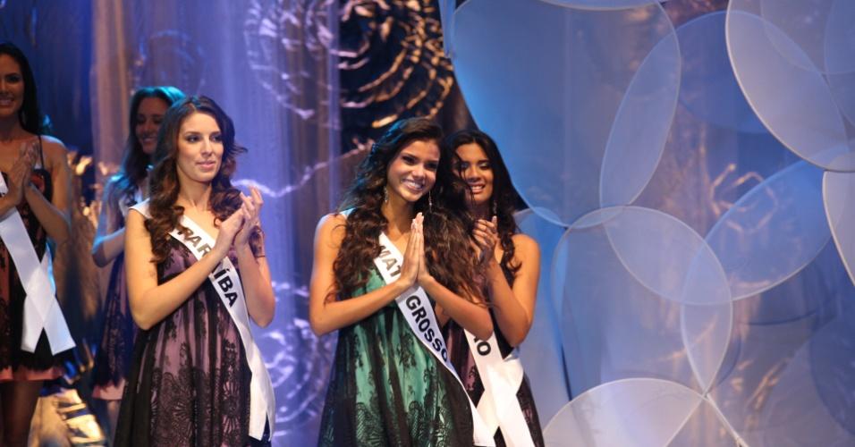 28.set.2013 - Candidatas a Miss Brasil 2013 desfilam durante concurso realizado em Belo Horizonte, neste sábado (28)