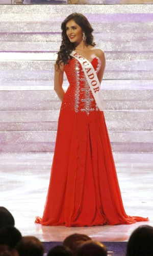 28.set.2013 - Laritza Parraga, Miss Equador, se apresenta para os jurados do Miss Mundo 2013