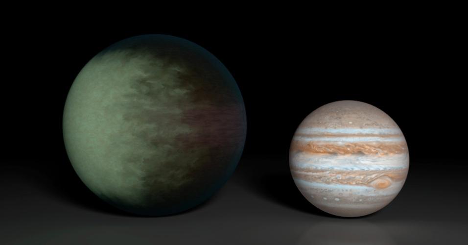 """30.set.2013 - Kepler-7b (à esquerda) é o primeiro exoplaneta a ter suas nuvens mapeadas pelo homem, segundo a Nasa (Agência Espacial Norte-Americana). Produzido com dados obtidos pelos telescópios espaciais Kepler e Spitzer, o mapeamento mostra que as nuvens, que são compostas de minerais com silicatos, cobrem apenas o lado ocidental do planeta gasoso, deixando a porção leste descoberta, um sinal de que ele """"tem um clima estável, diferente do que ocorre com a Terra"""". O Kepler-7b é um dos exoplanetas menos densos já catalogados, com cerca da de metade da massa de Júpiter (à direita), mesmo sendo maior"""
