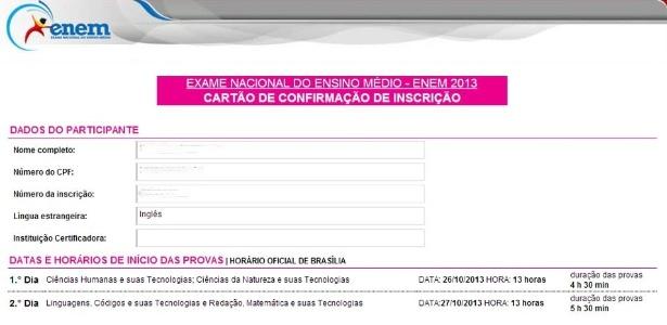 Reprodução do cartão de confirmação de inscrição do Enem 2013