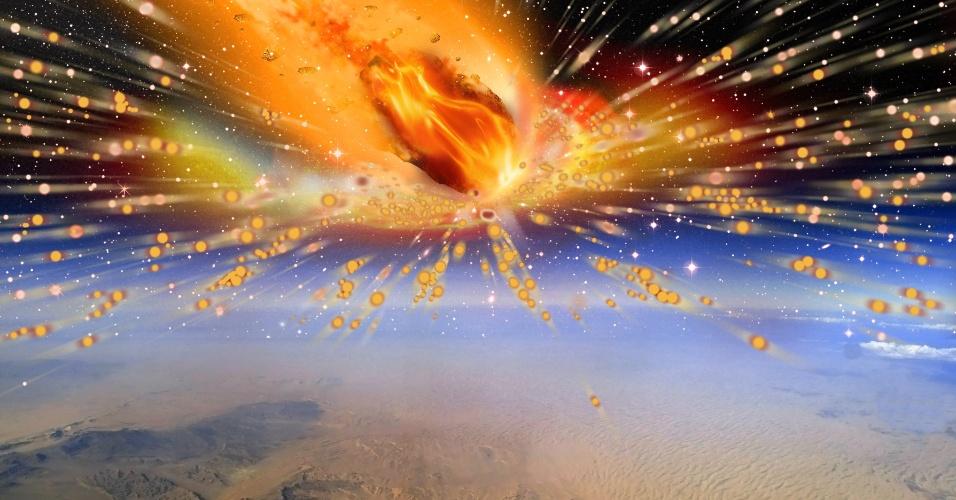 9.out.2013 - A primeira evidência de que um cometa entrou na atmosfera da Terra e explodiu sobre o Egito, destruindo toda forma de vida ao redor da região do Saara, foi descoberta por uma equipe da Universidade de Witwatersrand, na África do Sul. O fato ocorrido há 28 milhões de anos pode ajudar os cientistas a desvendar os segredos da formação do nosso Sistema Solar