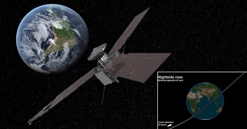 9.out.2013 - A sonda espacial Juno, da Nasa (Agência Espacial Norte-Americana), passará pela última vez na Terra nesta quarta-feira (9). O equipamento vai pegar impulso de velocidade gravitacional do nosso planeta, por volta das 19h21 GMT (às 16h21 no fuso de Brasília), para fazer sua jornada rumo a Júpiter. Os astrônomos da Agência Espacial Europeia (ESA, na sigla em inglês) vão rastrear os sinais de rádio emitidos pela sonda que viajava muito rápido a 561 quilômetros de altitude  em estações na Argentina e na Austrália. Juno, que está prevista para chegar em Júpiter só em julho de 2016, foi lançada para decifrar alguns dos enigmas do planeta mais antigo do Sistema Solar