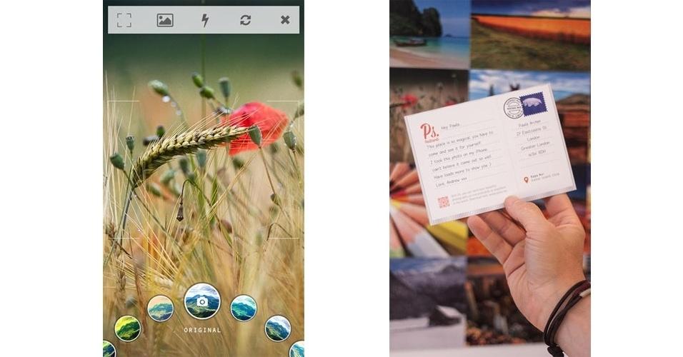 Depois de baixar o PS Postcards (disponível para iOS), o usuário pode tirar uma foto ou escolher uma da biblioteca do celular. Há nove opções de filtros para aplicar nas imagens; depois, é possível digitar uma mensagem e enviá-la pelo Facebook ou pelos Correios (para essa opção, é preciso pagar £ 1,49 ou R$ 5,25 via PayPal)