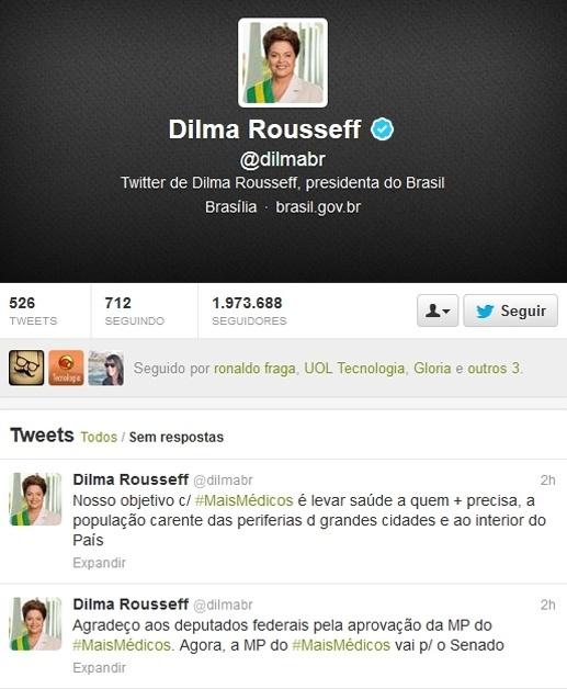 """10.out.2013 - A presidenta Dilma Rousseff agradeceu nesta quinta-feira (10) a aprovação, pela Câmara, da Medida Provisória 621, que cria o programa Mais Médicos. Por meio de sua conta no Twitter, Dilma disse que o objetivo do programa é levar saúde a quem mais precisa, à população carente e ao interior do país. """"Agradeço aos deputados federais pela aprovação da MP do Mais Médicos. Agora, a MP do Mais Médicos vai para o Senado"""""""