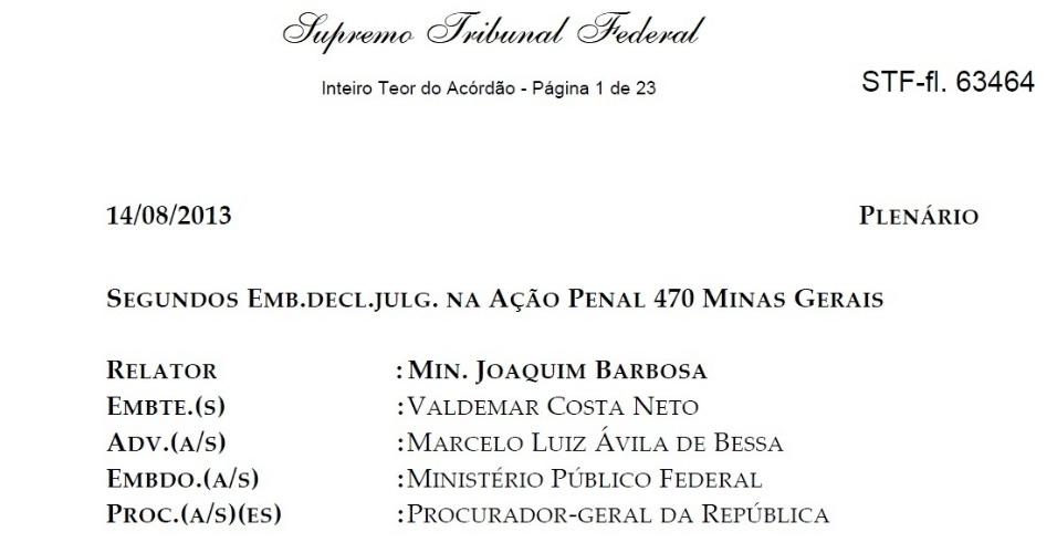 10.out.2013 - O STF (Supremo Tribunal Federal) publicou nesta quinta-feira o acórdão relativo ao julgamento dos recursos dos 25 réus condenados no julgamento do mensalão