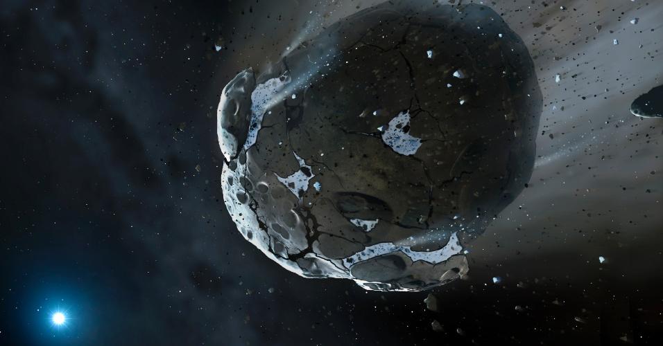 10.out.2013 - Telescópio Hubble identificou 26% de água na composição de um corpo rochoso encontrado ao redor da anã branca GD 61, sinal de que a vida como conhecemos pode ter existido fora do Sistema Solar. Segundo os pesquisadores, a água revela que o asteroide era um pedaço de um planeta já extinto, com pelo menos 90 quilômetros de diâmetro, que orbitava a estrela há 200 milhões de anos