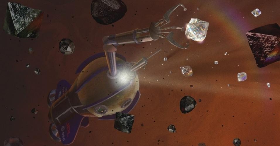 """11.out.2013- Cientistas afirmam que a alta pressão da atmosfera de Saturno e Júpiter pode transformar carbono em diamante e que, em altitudes mais elevadas, o diamante se tornaria líquido, criando uma verdadeira chuva de diamantes. Mona Delitsky da """"California Specialty Engineering"""" em Flintridge e Kevin Baines da Universidade de Wisconsin-Madison fizeram a afirmação em um encontro da Sociedade Americana de Astronomia em Denver, no Colorado. Isto levanta a possibilidade de, um dia, humanos enviarem robôs para capturar o diamante dos planetas do Sistema Solar, como mostra a imagem"""