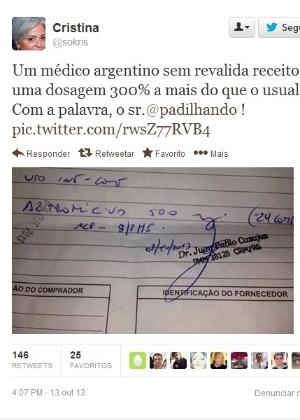 Imagem de receita médica com o carimbo do médico argentino se espalhou pela rede social