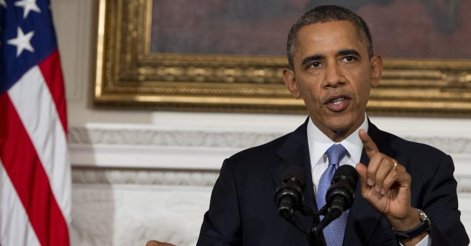 """17.out.2013 - O presidente dos EUA, Barack Obama, discursa sobre a retomada das atividades dos servidores federais após 16 dias de paralisação, na Casa Branca, em Washington DC. Obama disse que a crise foi uma batalha """"sem vencedores"""""""