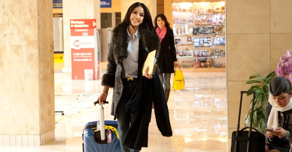 21.out.2013 - Chalita Yaemwannang, Miss Universo Tailândia, chega ao hotel onde será realizado o Miss Universo 2013, em Moscou, na Rússia. O concurso acontece no dia 9 de novembro e, até lá, as mais de 80 beldades vão visitar diversos pontos turísticos da capital russa e ensaiar para a grande final