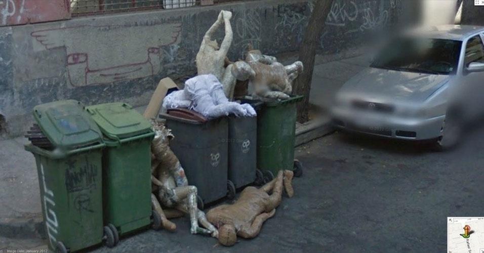 A imagem acima aparece em uma lista do site ?Mashable? com as cenas mais aterrorizantes registradas pelo Google Street View