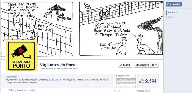 Página de Facebook criada por alunos do Colégio Visconde de Porto Seguro, de São Paulo, para discutir o projeto de segurança da escola