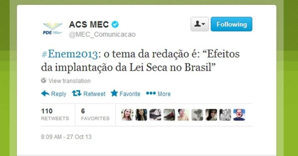 Segundo o twitter do MEC (Ministério da Educação), o tema da redação do Enem (Exame Nacional do Ensino Médio) 2013 é
