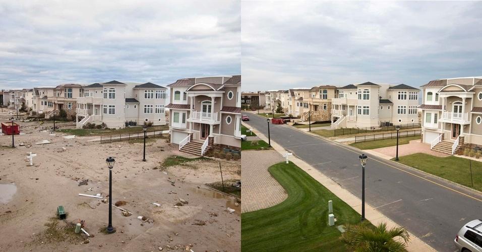 28.out.2013 - Rua de bairro residencial em praia de Sea Bright, em Nova Jersey, nos Estados Unidos, fica cheia de areia após a passagem do furacão Sandy, em 31 de outubro de 2012. À direita, a mesma rua, reconstruída, em 22 de outubro de 2012. A passagem da supertempestade histórica que matou pelo menos 159 pessoas, danificou mais de 650 mil casas, e trouxe prejuízos estimados em US$ 70 bilhões para o país, completa um ano nesta terça-feira (29)