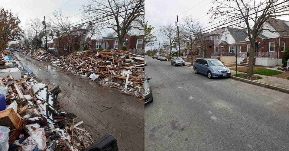 28.out.2013 - Detritos empilhados do lado de fora de casas danificadas no bairro Queens, em Nova York, são fotografados após passagem do furacão Sandy, em 8 de novembro de 2012. À direita, a mesma rua em 22 de outubro de 2013. A passagem supertempestade histórica que matou pelo menos 159 pessoas, danificou mais de 650 mil casas, e trouxe prejuízos estimados em US$ 65 milhões para o país, completa um ano nesta terça-feira (29)