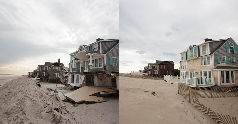 28.out.2013 - Prédio danificado pela passagem do furacão Sandy é fotografado em 16 de novembro de 2012 (esquerda); em 22 de outubro de 2013 é registrada a sua reconstrução na cidade de Mantoloking, em Nova Jersey, nos Estados Unidos. A passagem supertempestade histórica que matou pelo menos 159 pessoas, danificou mais de 650 mil casas, e trouxe prejuízos estimados em US$ 65 milhões para o país, completa um ano nesta terça-feira (29)