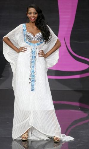 4.nov.2013 - Maheder Tigabe, Miss Etiópia, em traje típico do país