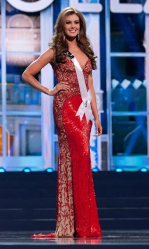 5.nov.2013 - Erin Brady, Miss EUA 2013, desfila em traje de gala durante Competição Preliminar do Miss Universo. A final acontece neste sábado (9) em Moscou, na Rússia
